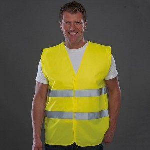 Hi-vis two-band vest 4 colour screen printed on top back