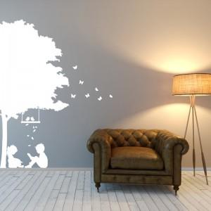Abstract nature, summer, tree, leafs, birds, butterflies, children - Living Room Vinyl Wall Art
