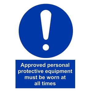 Approved Personal Protective Equipment Must Be Worn At All Times - Portrait
