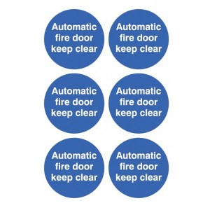 Automatic Fire Door Keep Clear Stickers - Circular
