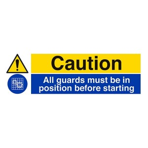 Caution / All Guards Must Be In Position Before Starting - Landscape