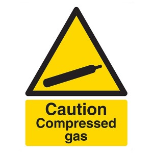 Caution Compressed Gas - Portrait