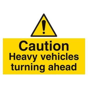 Caution Heavy Vehicles Turning - Landscape - Large