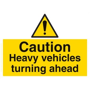 Heavy Vehicles Turning Ahead - Landscape - Large