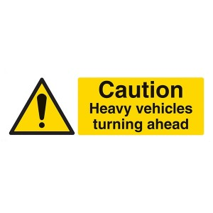 Caution Heavy Vehicles Turning - Landscape