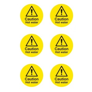 Caution Hot Water Stickers - Circular