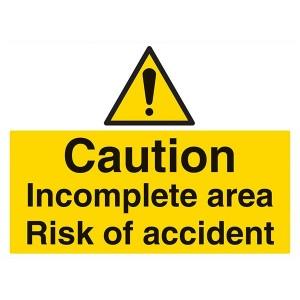 Caution Incomplete Area Risk Of Accident - Landscape - Large