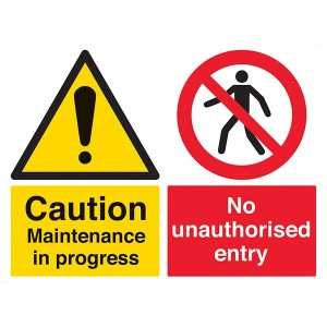 Caution Maintenance In Progress / No Entry - Landscape - Large