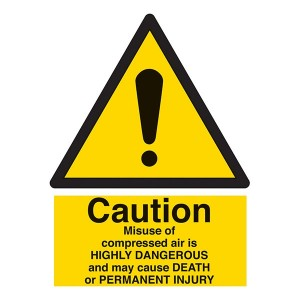 Caution Misuse Of Compressed Air Is Dangerous May Cause Death - Portrait