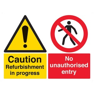 Caution Refurbishment In Progress / No Unauthorised Entry - Landscape - Large