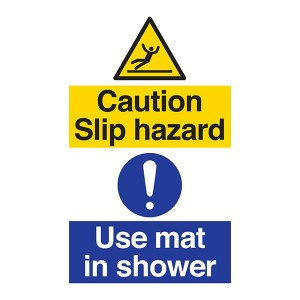 Caution Slip Hazard - Use Mat In Shower - Portrait