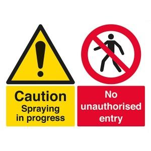 Caution Spraying In Progress / No Unauthorised Entry - Landscape - Large