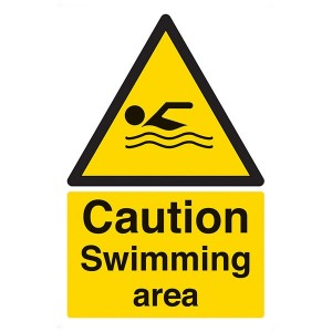 Caution Swimming Area - Portrait