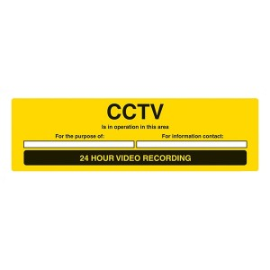 CCTV Is In Operation In This Area - 24 Hour Video Recording - Landscape