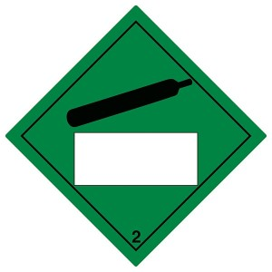 Compressed Gas 2 UN Substance Numbering - Green - Diamond - Square