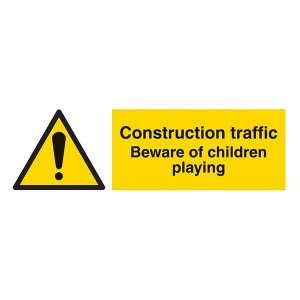 Construction Traffic Beware Of Children Playing - Landscape