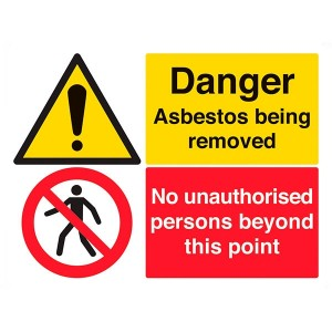 Danger Asbestos Being Removed / No Unauthorised Persons - Landscape - Large