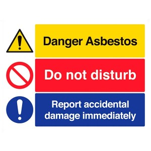 Danger Asbestos / Do Not Disturb / Report Accidental Damage Immediately - Landscape - Large