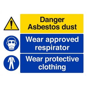 Danger Asbestos Dust / Wear Approved Respirator / Wear Protective Clothing - Landscape - Large