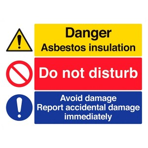 Danger Asbestos Insulation / Do Not Disturb / Report Damage - Landscape - Large