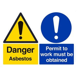 Danger Asbestos / Permit To Work Must Be Obtained - Landscape - Large