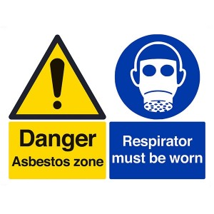 Danger Asbestos Zone / Respirator Must Be Worn - Landscape - Large