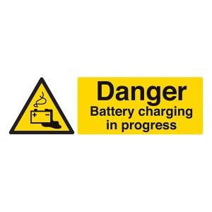 Danger Battery Charging In Progress - Landscape
