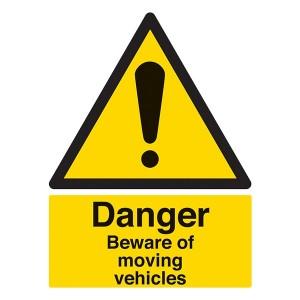 Danger Beware Of Moving Vehicles - Portrait