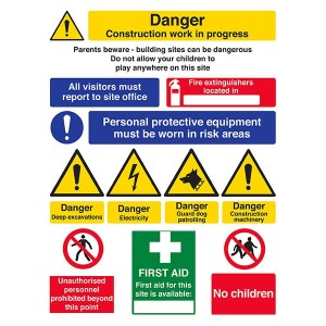 Danger Work - Parents Beware / First Aid / No Children / PPE Must Be Worn - Portrait