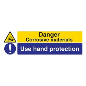 Danger Corrosive Materials / Use Hand Protection - Landscape