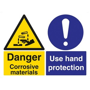Danger Corrosive Materials / Use Hand Protection - Landscape - Large