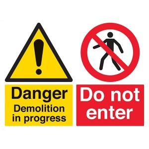 Danger Demolition In Progress / Do Not Enter - Landscape - Large