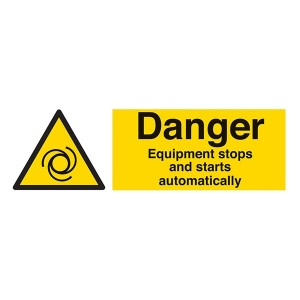 Danger Equipment Stops And Starts Automatically - Landscape
