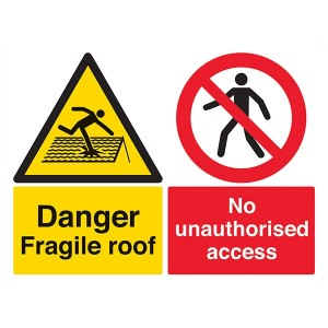 Danger Fragile Roof / No Unauthorised Access - Landscape - Large