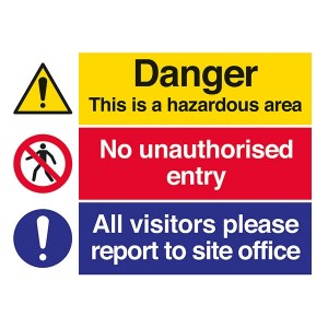 Danger Hazardous Area / No Unauthorised Entry / Visitors Report To Site Office - Landscape - Large