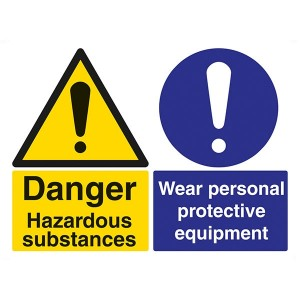 Danger Hazardous Substances / Wear Personal Protective Equipment - Landscape - Large