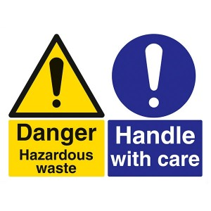 Danger Hazardous Waste / Handle With Care - Landscape - Large