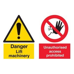 Danger Lift Machinery / Unauthorised Access Prohibited - Landscape - Large