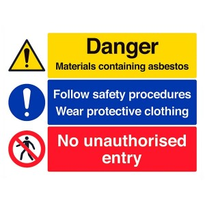 Danger Containing Asbestos / Follow Safety Procedures / No Unauthorised Entry - Landscape - Large