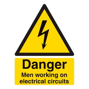 Danger Men Working On Electrical Circuits - Portrait