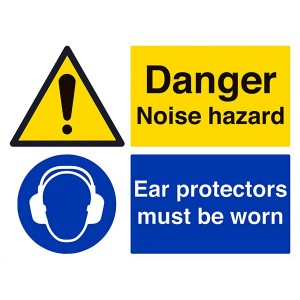Danger Noise Hazard / Ear Protectors - Landscape - Large