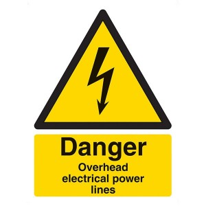 Danger Overhead Power Lines - Portrait