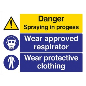 Danger Spraying In Progress / Wear Approved Respirator / Wear Protective Clothing - Landscape - Large