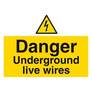 Danger Underground Live Wires - Landscape - Large