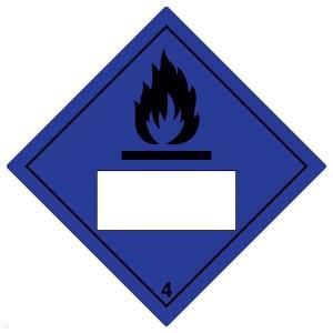 Dangerous When Wet 4 UN Substance Numbering - Blue - Diamond - Square