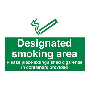 Designated Smoking Area Please Place Extinguished Cigarettes In Containers Provided - Landscape - Large