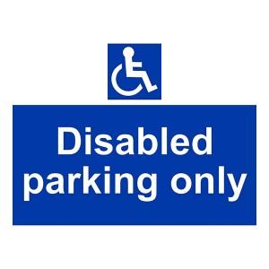 Disabled Parking Only - Landscape - Large