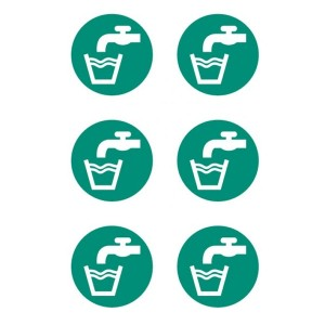 Drinking Water Symbol Stickers - Circular