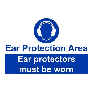 Ear Protection Area / Ear Protectors Must Be Worn - Landscape - Large