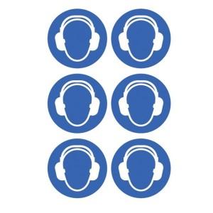 Ear Protection Symbol Stickers - Circular